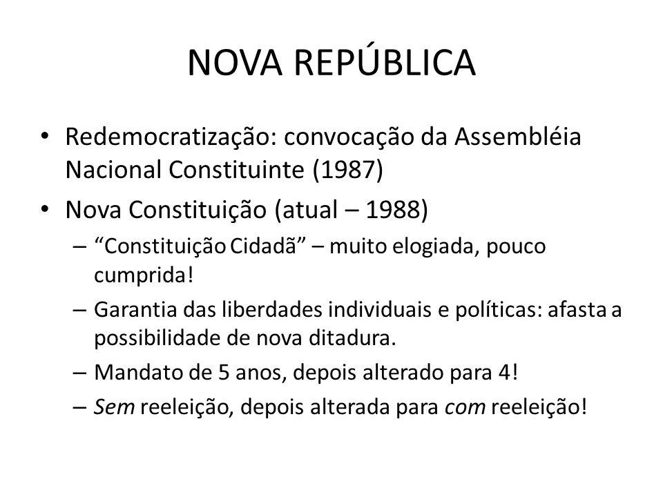 NOVA REPÚBLICA Redemocratização: convocação da Assembléia Nacional Constituinte (1987) Nova Constituição (atual – 1988) – Constituição Cidadã – muito