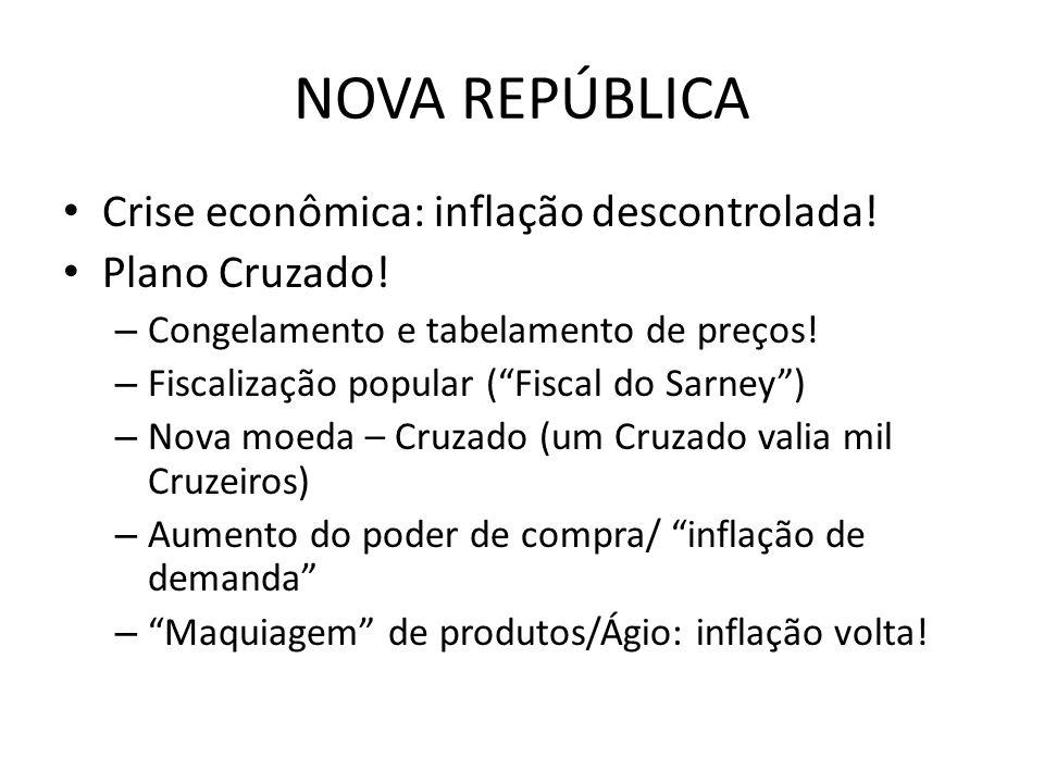 NOVA REPÚBLICA Crise econômica: inflação descontrolada! Plano Cruzado! – Congelamento e tabelamento de preços! – Fiscalização popular (Fiscal do Sarne