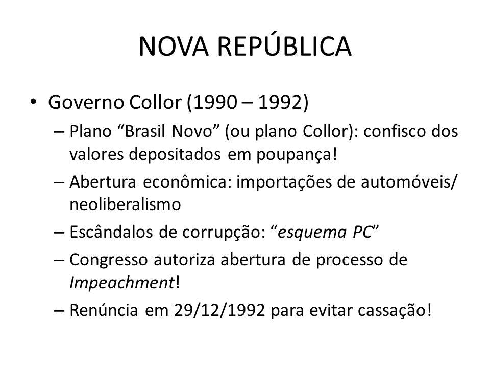 NOVA REPÚBLICA Governo Collor (1990 – 1992) – Plano Brasil Novo (ou plano Collor): confisco dos valores depositados em poupança! – Abertura econômica: