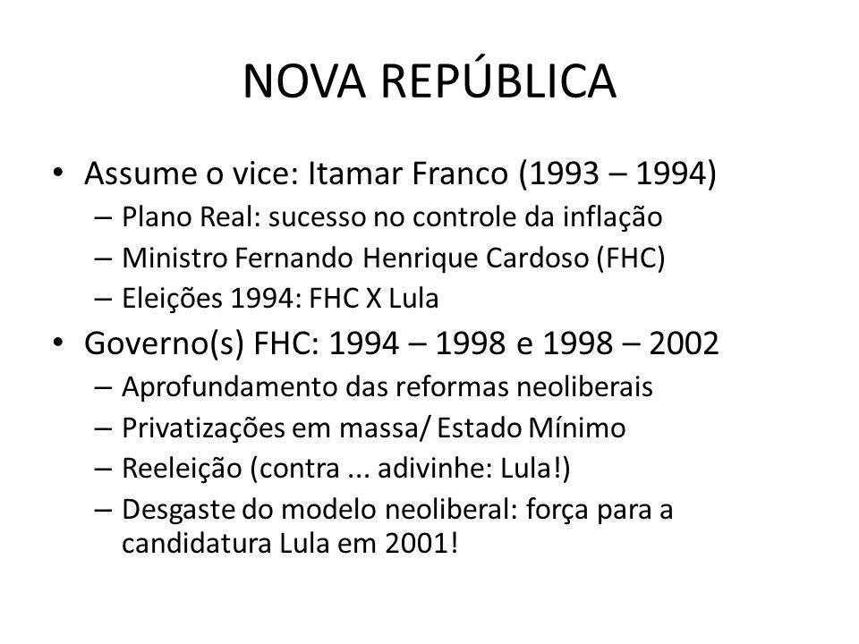 NOVA REPÚBLICA Assume o vice: Itamar Franco (1993 – 1994) – Plano Real: sucesso no controle da inflação – Ministro Fernando Henrique Cardoso (FHC) – E