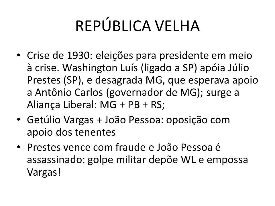 REPÚBLICA VELHA Crise de 1930: eleições para presidente em meio à crise. Washington Luís (ligado a SP) apóia Júlio Prestes (SP), e desagrada MG, que e