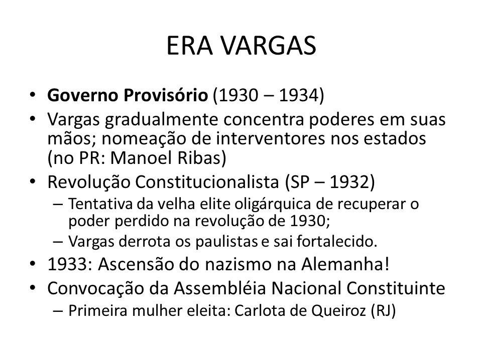 ERA VARGAS Governo Provisório (1930 – 1934) Vargas gradualmente concentra poderes em suas mãos; nomeação de interventores nos estados (no PR: Manoel R