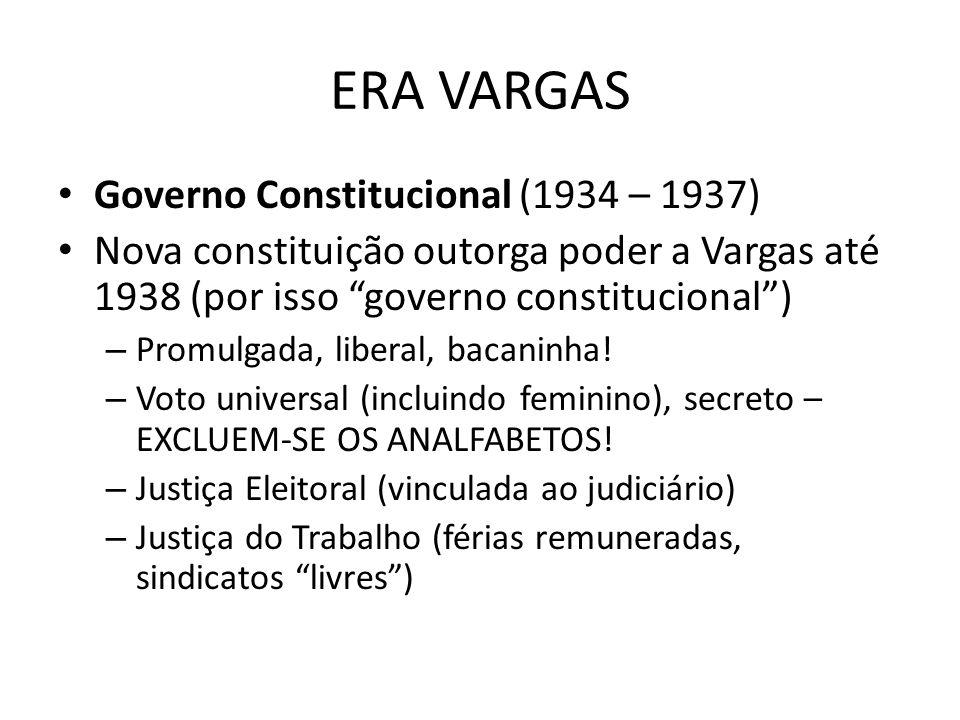 ERA VARGAS Governo Constitucional (1934 – 1937) Nova constituição outorga poder a Vargas até 1938 (por isso governo constitucional) – Promulgada, libe