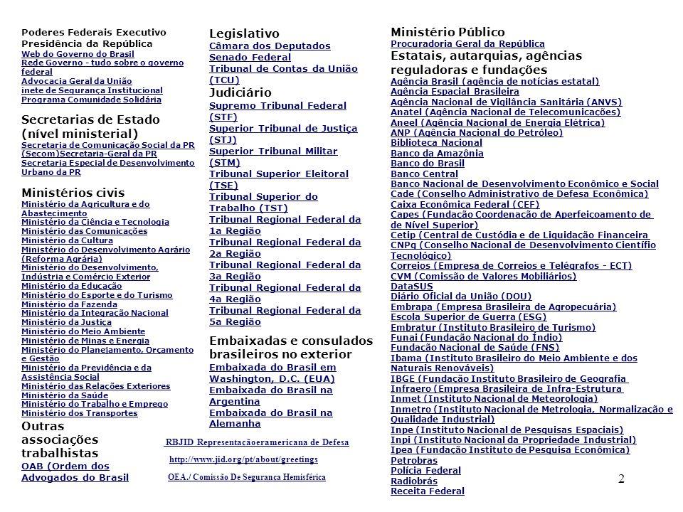 2 Poderes Federais Executivo Presidência da República Web do Governo do Brasil Rede Governo - tudo sobre o governo federal Advocacia Geral da União in