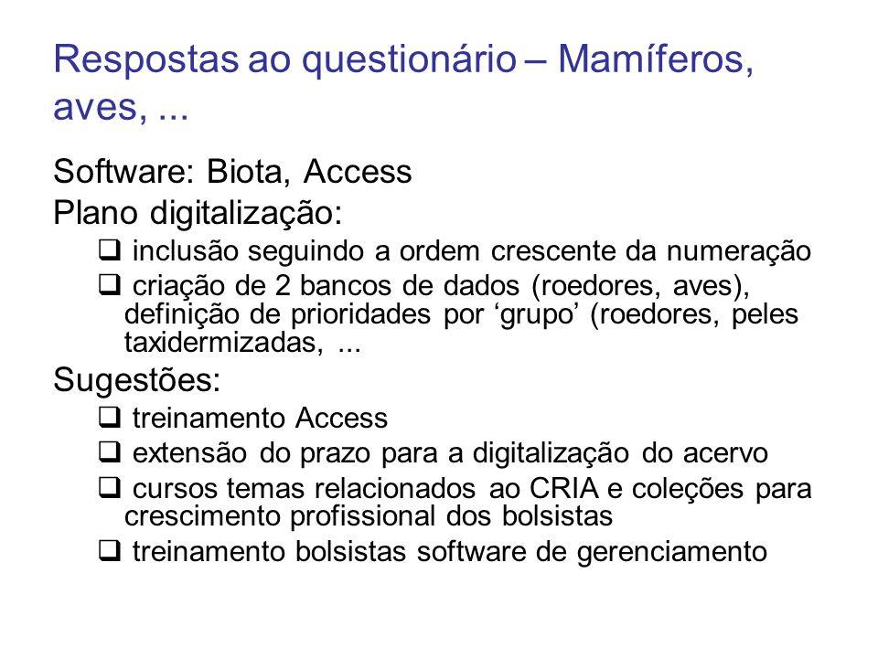 Respostas ao questionário – Mamíferos, aves,... Software: Biota, Access Plano digitalização: inclusão seguindo a ordem crescente da numeração criação