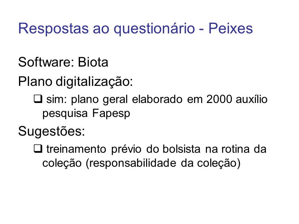 Respostas ao questionário - Peixes Software: Biota Plano digitalização: sim: plano geral elaborado em 2000 auxílio pesquisa Fapesp Sugestões: treiname