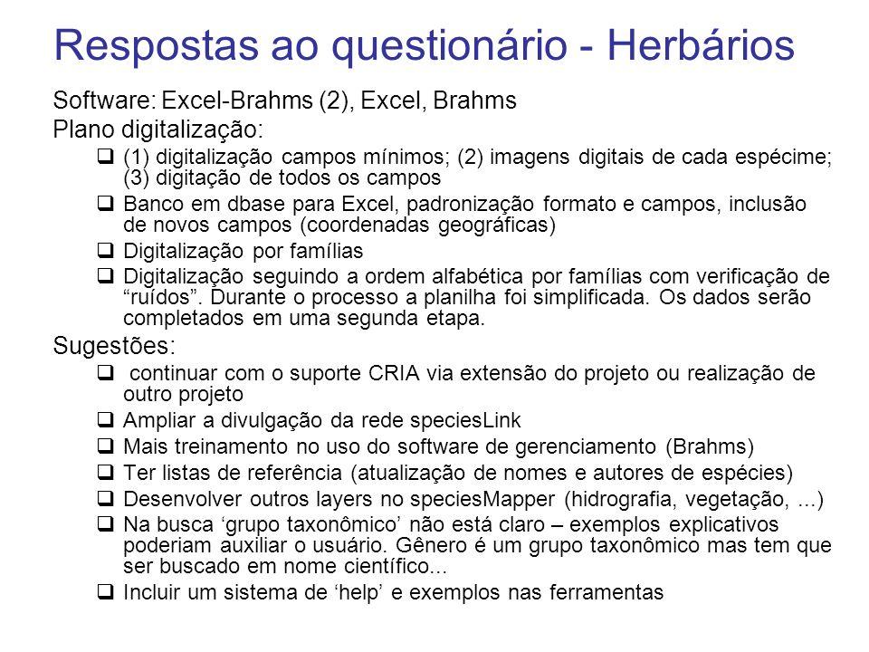 Respostas ao questionário - Herbários Software: Excel-Brahms (2), Excel, Brahms Plano digitalização: (1) digitalização campos mínimos; (2) imagens dig