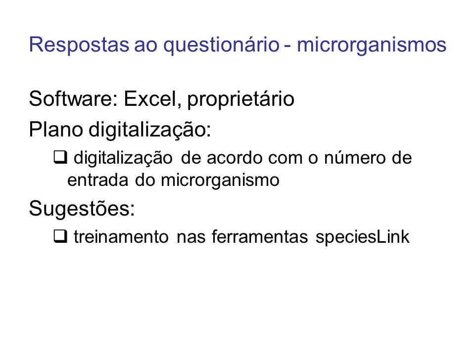 Respostas ao questionário - microrganismos Software: Excel, proprietário Plano digitalização: digitalização de acordo com o número de entrada do micro