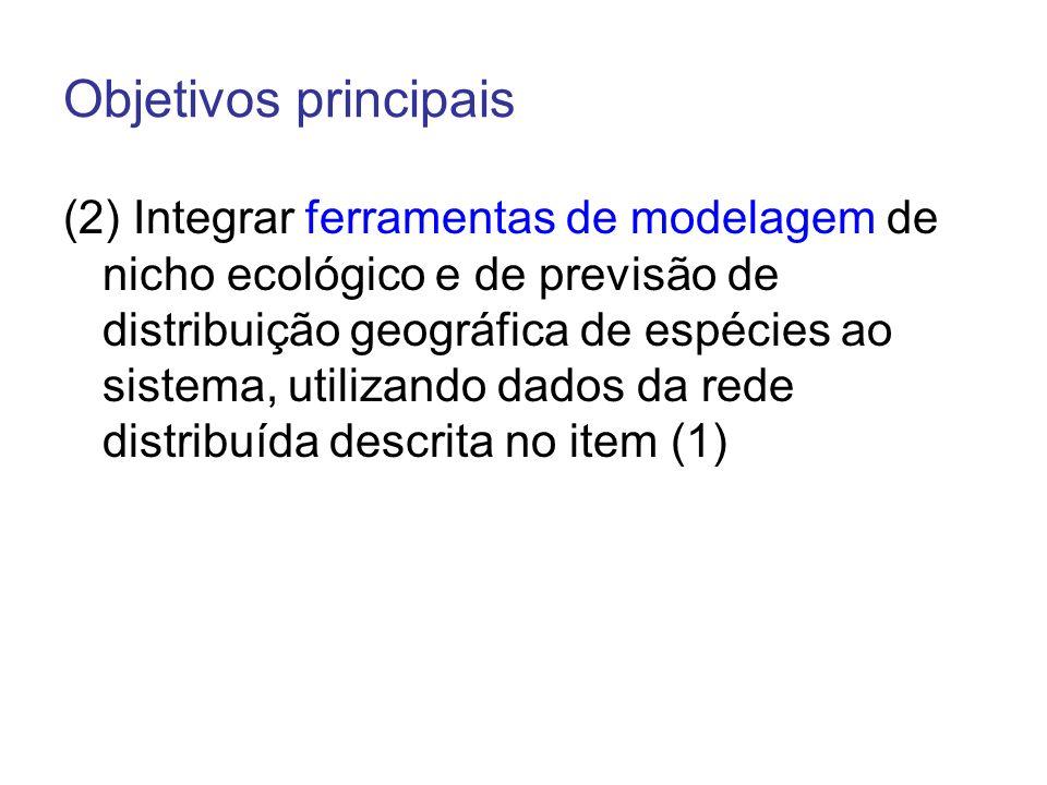 Objetivos principais (3) Desenvolver aplicativos que façam uso dos dados integrados na rede de informação distribuída descrita no item (1) e dos modelos matemáticos de distribuição no item (2) para dar suporte à comunidade científica, educacional, tomadores de decisão e formuladores de políticas ambientais.