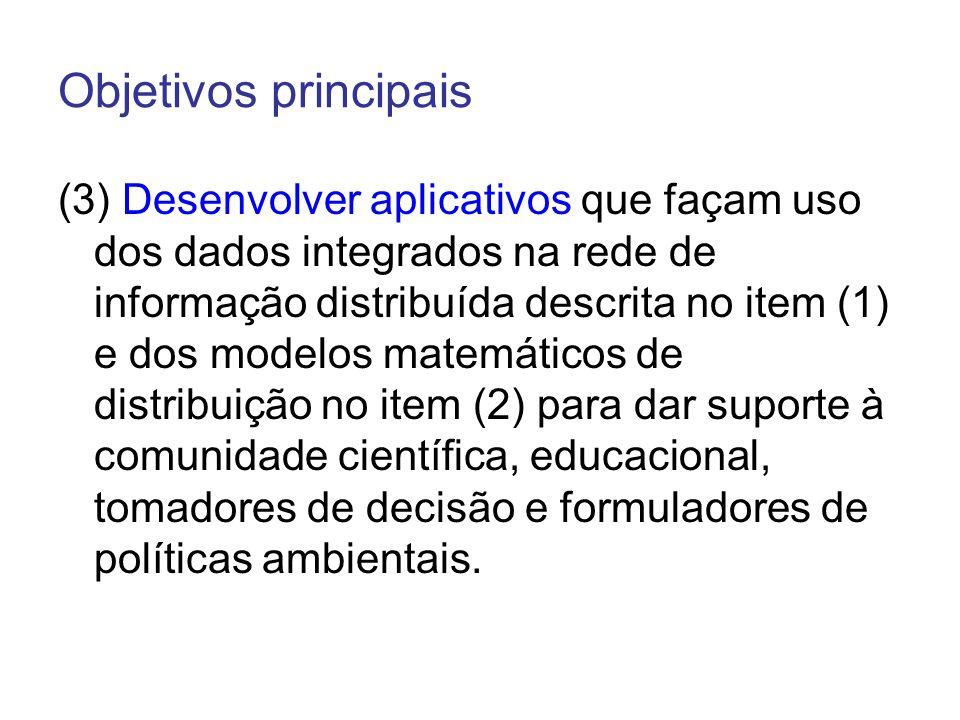 Objetivos principais (3) Desenvolver aplicativos que façam uso dos dados integrados na rede de informação distribuída descrita no item (1) e dos model
