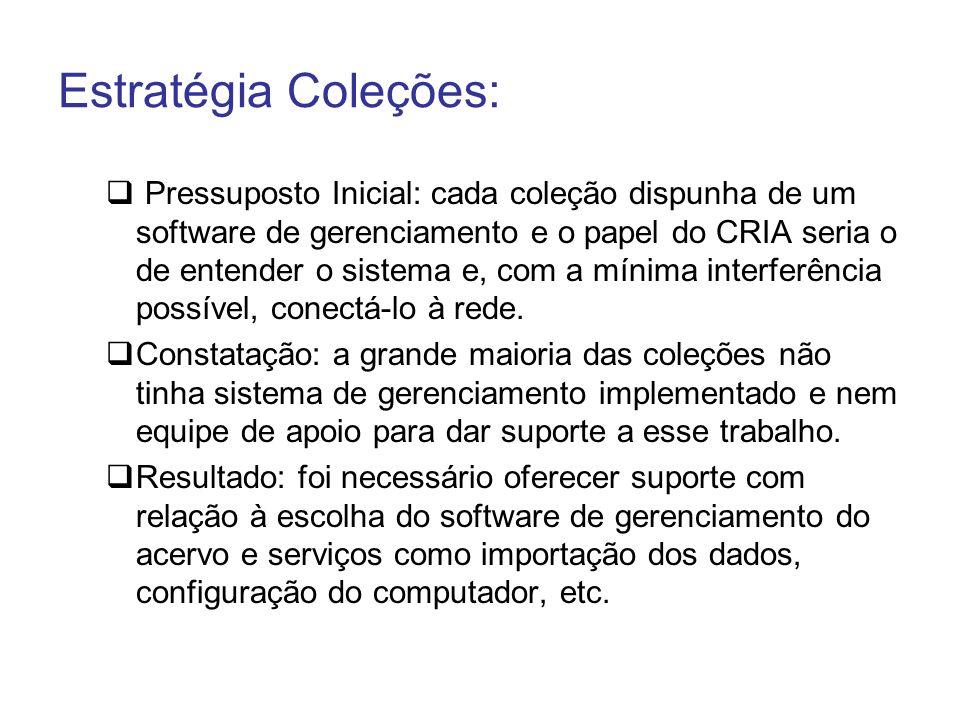 Estratégia Coleções: Pressuposto Inicial: cada coleção dispunha de um software de gerenciamento e o papel do CRIA seria o de entender o sistema e, com