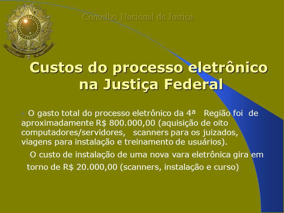 Custos do processo eletrônico na Justiça Federal - O gasto total do processo eletrônico da 4ª Região foi de aproximadamente R$ 800.000,00 (aquisição de oito computadores/servidores, scanners para os juizados, viagens para instalação e treinamento de usuários).