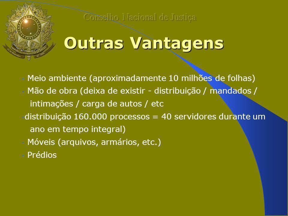 Outras Vantagens - Meio ambiente (aproximadamente 10 milhões de folhas) - Mão de obra (deixa de existir - distribuição / mandados / intimações / carga