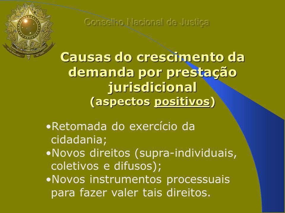 Causas do crescimento da demanda por prestação jurisdicional (aspectos positivos) Retomada do exercício da cidadania; Novos direitos (supra-individuais, coletivos e difusos); Novos instrumentos processuais para fazer valer tais direitos.