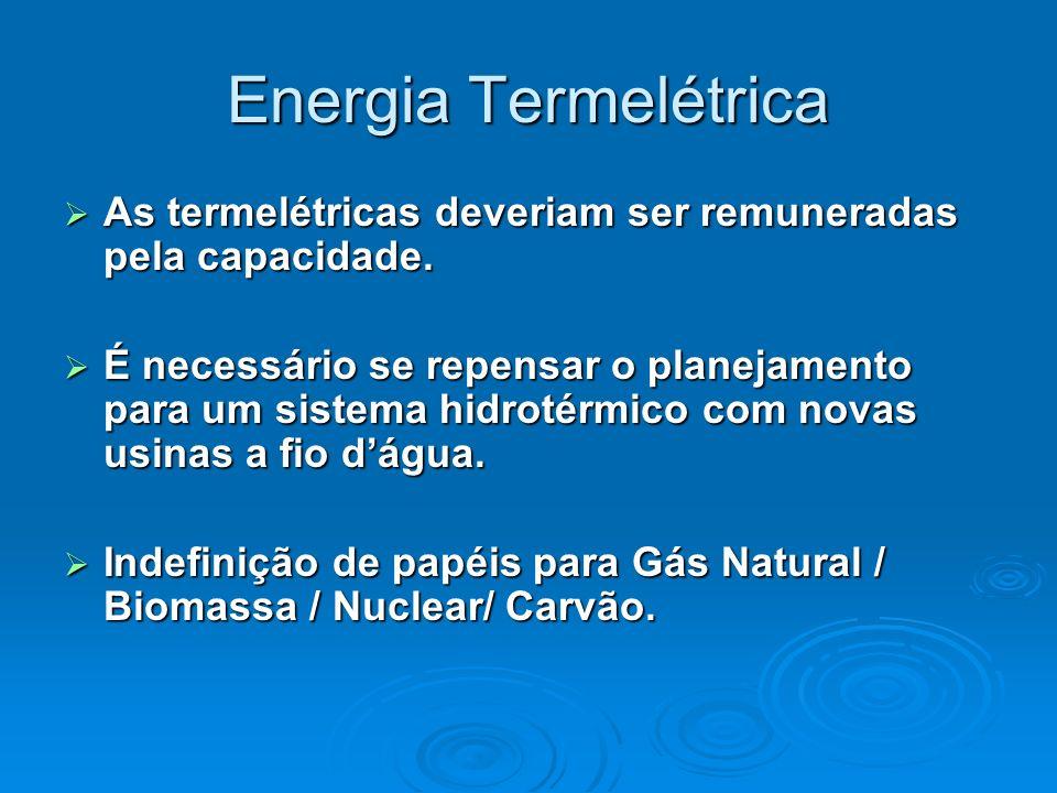 Energia Termelétrica As termelétricas deveriam ser remuneradas pela capacidade. As termelétricas deveriam ser remuneradas pela capacidade. É necessári