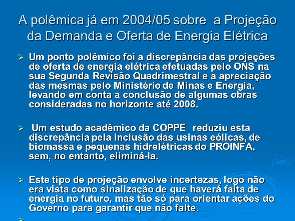 A polêmica já em 2004/05 sobre a Projeção da Demanda e Oferta de Energia Elétrica Um ponto polêmico foi a discrepância das projeções de oferta de ener