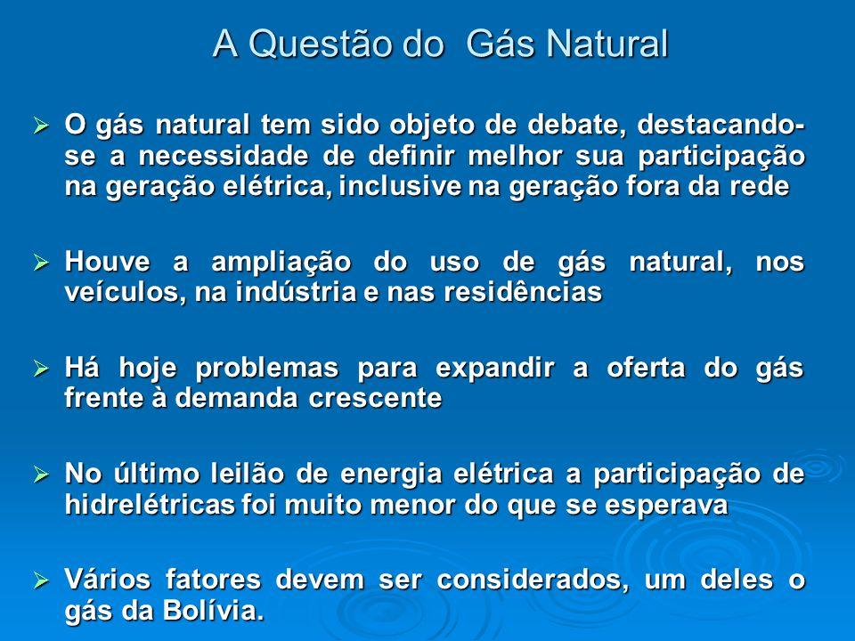A Questão do Gás Natural A Questão do Gás Natural O gás natural tem sido objeto de debate, destacando- se a necessidade de definir melhor sua particip