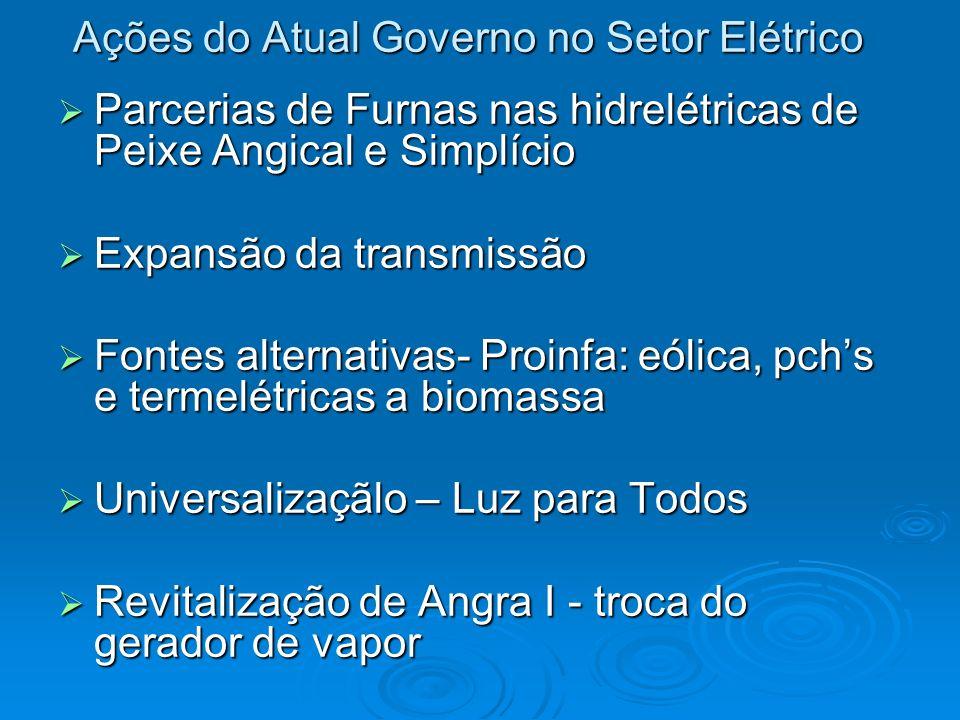 Ações do Atual Governo no Setor Elétrico Parcerias de Furnas nas hidrelétricas de Peixe Angical e Simplício Parcerias de Furnas nas hidrelétricas de P