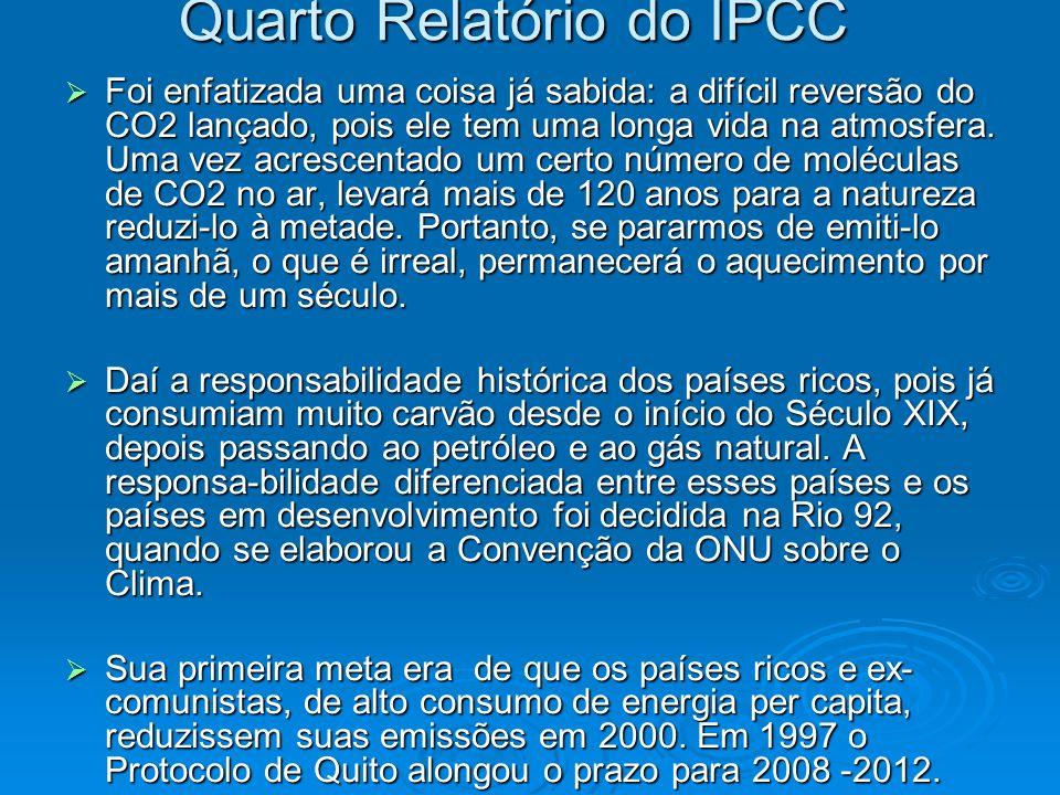 Quarto Relatório do IPCC Foi enfatizada uma coisa já sabida: a difícil reversão do CO2 lançado, pois ele tem uma longa vida na atmosfera. Uma vez acre