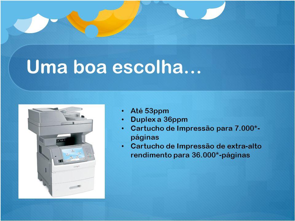 Uma boa escolha… Até 53ppm Duplex a 36ppm Cartucho de Impressão para 7.000*- páginas Cartucho de Impressão de extra-alto rendimento para 36.000*-págin