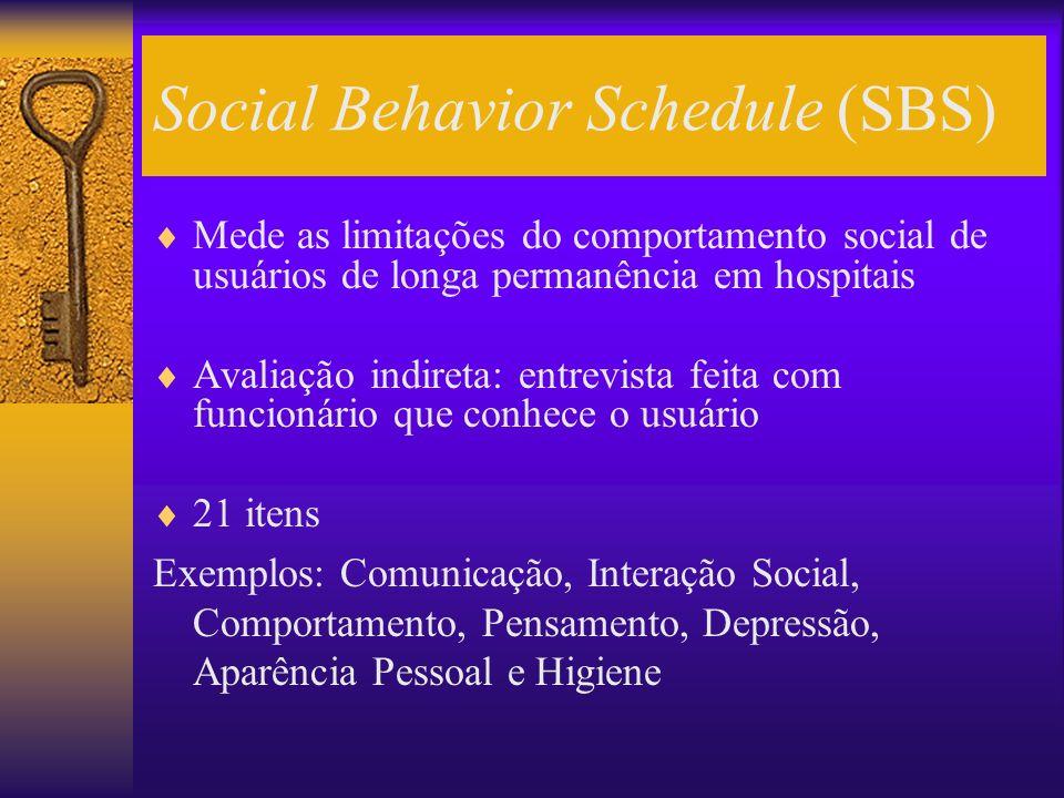Social Behavior Schedule (SBS) Mede as limitações do comportamento social de usuários de longa permanência em hospitais Avaliação indireta: entrevista