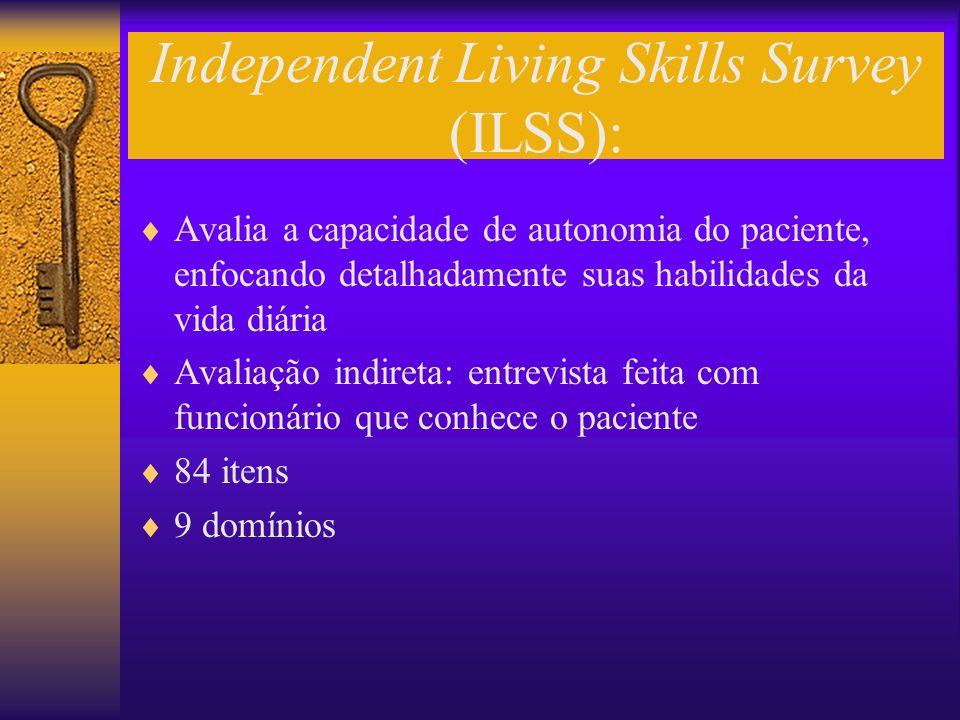 Independent Living Skills Survey (ILSS): Avalia a capacidade de autonomia do paciente, enfocando detalhadamente suas habilidades da vida diária Avalia