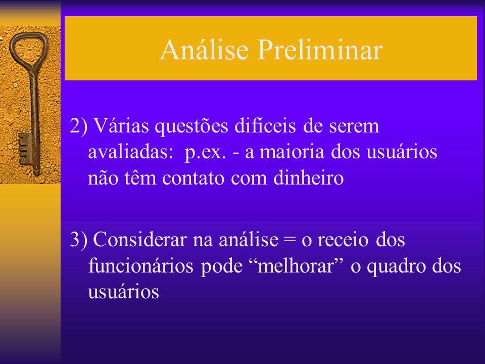 Análise Preliminar 2) Várias questões difíceis de serem avaliadas: p.ex. - a maioria dos usuários não têm contato com dinheiro 3) Considerar na anális