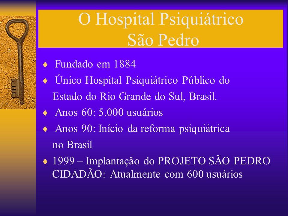 O Hospital Psiquiátrico São Pedro Fundado em 1884 Único Hospital Psiquiátrico Público do Estado do Rio Grande do Sul, Brasil. Anos 60: 5.000 usuários