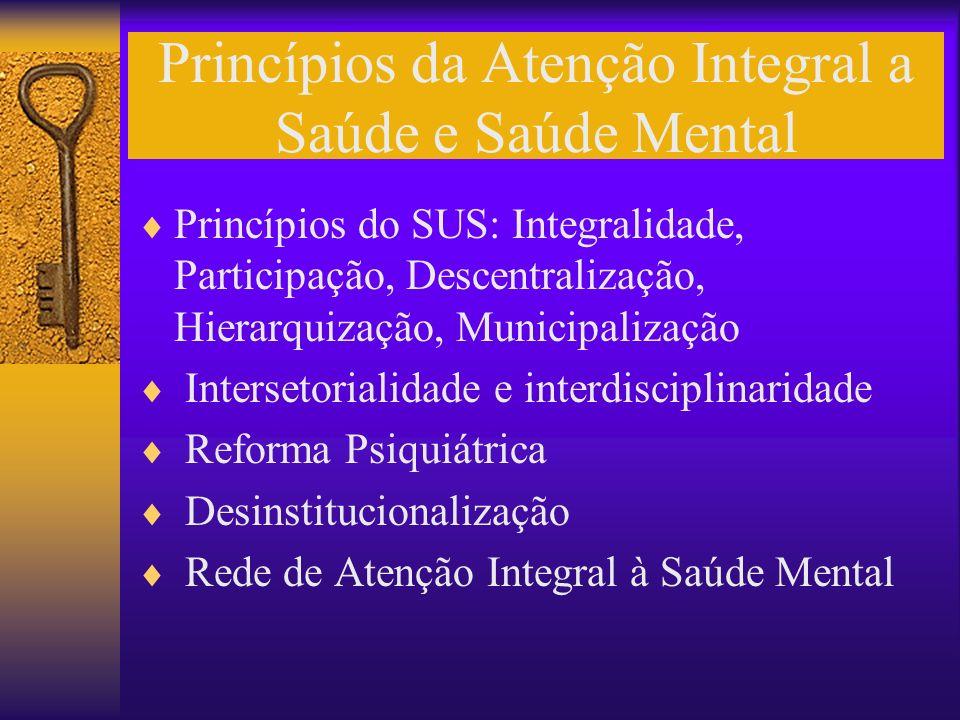 Princípios da Atenção Integral a Saúde e Saúde Mental Princípios do SUS: Integralidade, Participação, Descentralização, Hierarquização, Municipalizaçã
