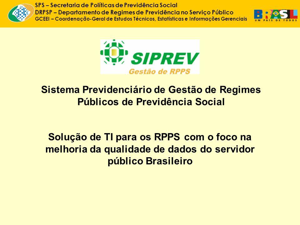 SPS – Secretaria de Políticas de Previdência Social DRPSP – Departamento de Regimes de Previdência no Serviço Público GCEEI – Coordenação-Geral de Estudos Técnicos, Estatísticas e Informações Gerenciais Sistema Previdenciário de Gestão de Regimes Públicos de Previdência Social Solução de TI para os RPPS com o foco na melhoria da qualidade de dados do servidor público Brasileiro
