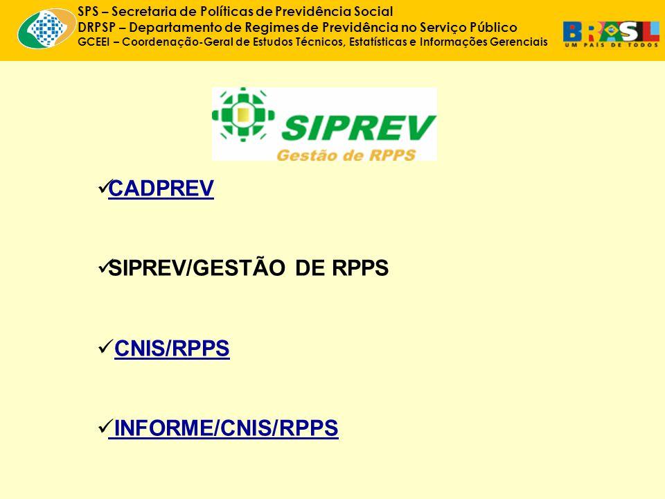 SPS – Secretaria de Políticas de Previdência Social DRPSP – Departamento de Regimes de Previdência no Serviço Público GCEEI – Coordenação-Geral de Estudos Técnicos, Estatísticas e Informações Gerenciais CADPREV SIPREV/GESTÃO DE RPPS CNIS/RPPS INFORME/CNIS/RPPS