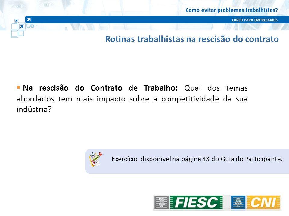 Rotinas trabalhistas na rescisão do contrato Na rescisão do Contrato de Trabalho: Qual dos temas abordados tem mais impacto sobre a competitividade da