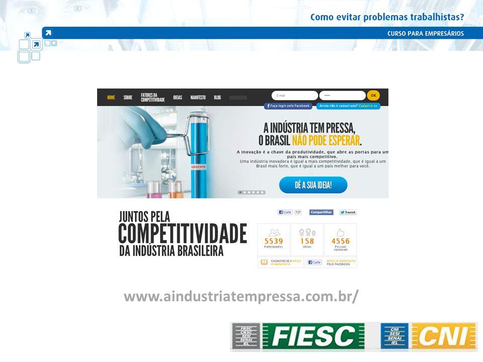 Ação da Indústria para a competitividade Algumas ações para evitar perda de competitividade da Indústria na área trabalhista...