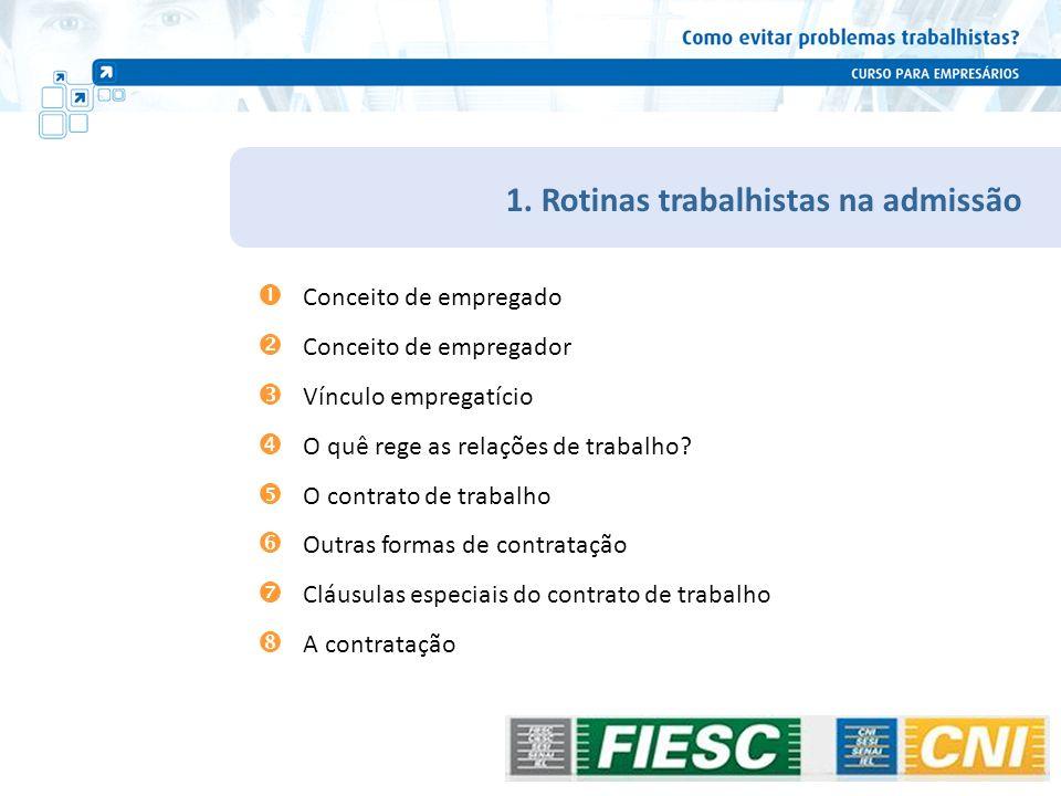 Rotinas trabalhistas na vigência do contrato Encargos trabalhistas Empresa não optante pelo SIMPLES – cálculo sobre um salário/hora Encargos Sociais(%) 13º Salário 10,00 % Férias 13,33 % Descanso Semanal Remunerado 20,00 % INSS20,00 % SAT até3,00 % Salário Educação2,50 % INCRA/SENAI/SESI/SEBRAE3,30 % FGTS (a partir de 01.01.2007)8,00 % FGTS/Provisão de Multa para Rescisão4,00 % Total Previdenciário 40,80 % Previdenciário sobre 13º / Férias / DSR 17,68 % SOMA BÁSICO 101,81 % Exceto SIMPLES 88