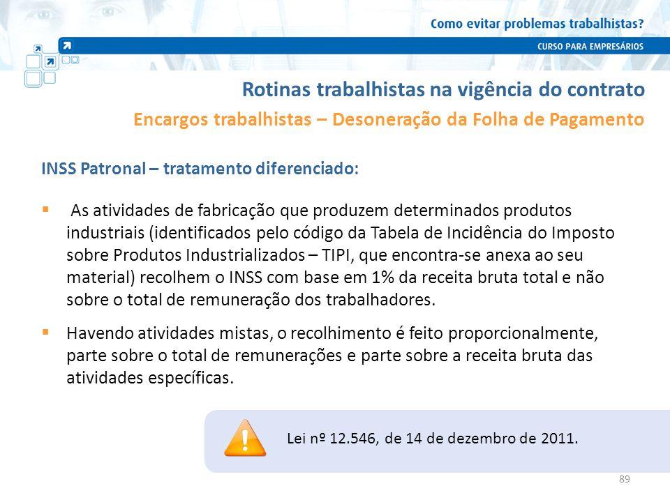 Rotinas trabalhistas na vigência do contrato Encargos trabalhistas – Desoneração da Folha de Pagamento INSS Patronal – tratamento diferenciado: Lei nº