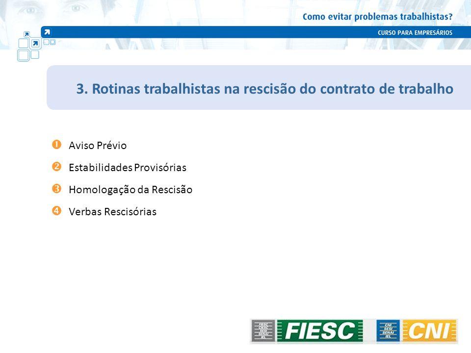3. Rotinas trabalhistas na rescisão do contrato de trabalho Aviso Prévio Estabilidades Provisórias Homologação da Rescisão Verbas Rescisórias 92