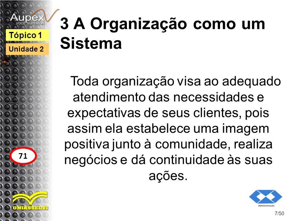 3 A Organização como um Sistema Toda organização visa ao adequado atendimento das necessidades e expectativas de seus clientes, pois assim ela estabel