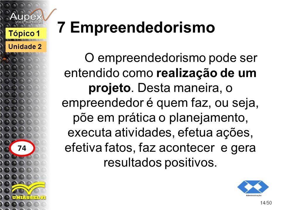 7 Empreendedorismo O empreendedorismo pode ser entendido como realização de um projeto. Desta maneira, o empreendedor é quem faz, ou seja, põe em prát