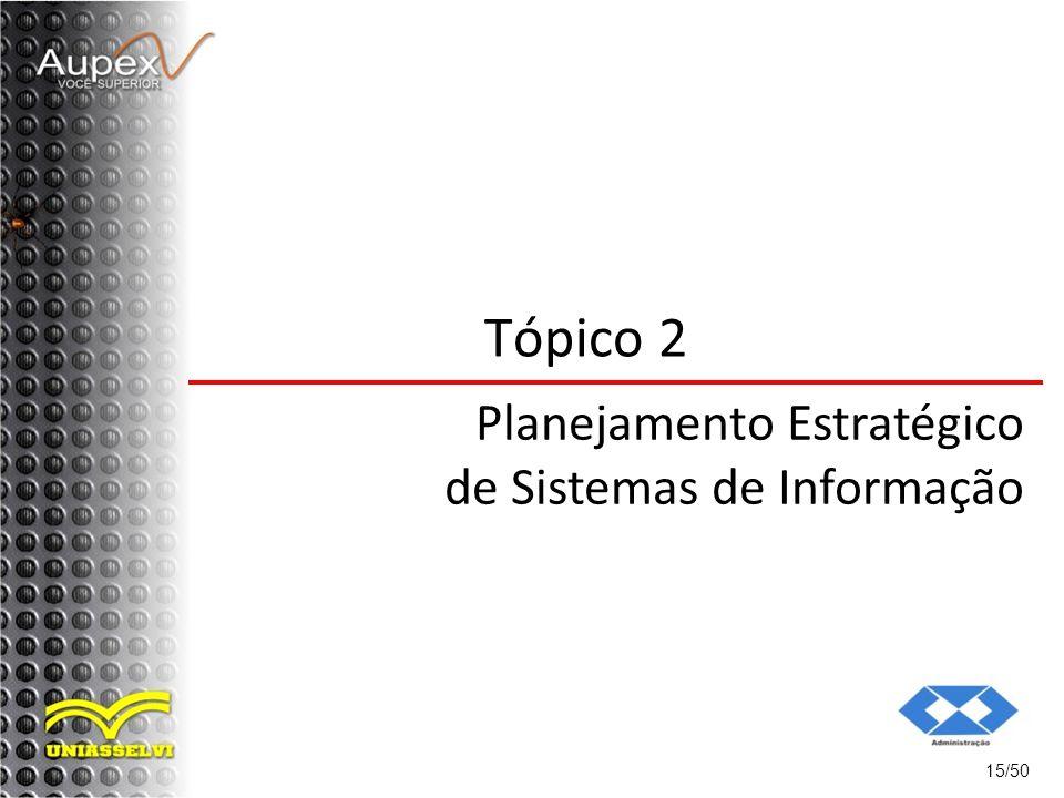 15/50 Tópico 2 Planejamento Estratégico de Sistemas de Informação