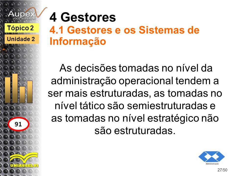 4 Gestores 4.1 Gestores e os Sistemas de Informação 27/50 Tópico 2 91 Unidade 2 As decisões tomadas no nível da administração operacional tendem a ser