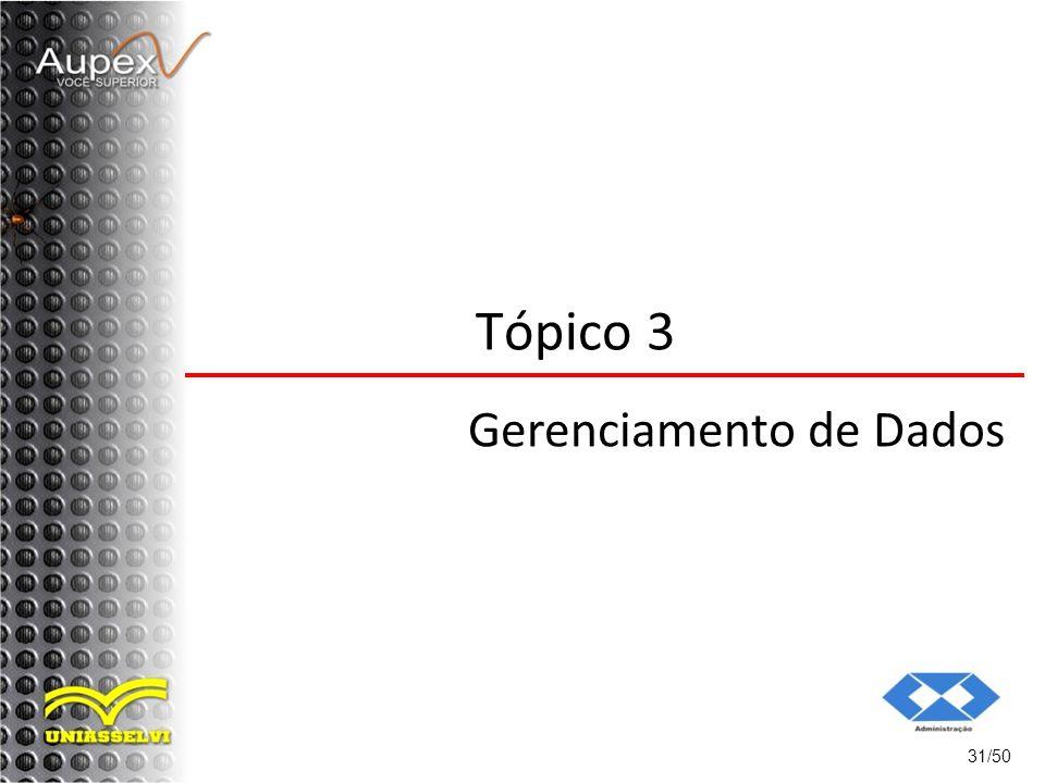 31/50 Tópico 3 Gerenciamento de Dados