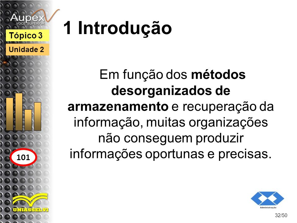 1 Introdução 32/50 Tópico 3 101 Unidade 2 Em função dos métodos desorganizados de armazenamento e recuperação da informação, muitas organizações não c