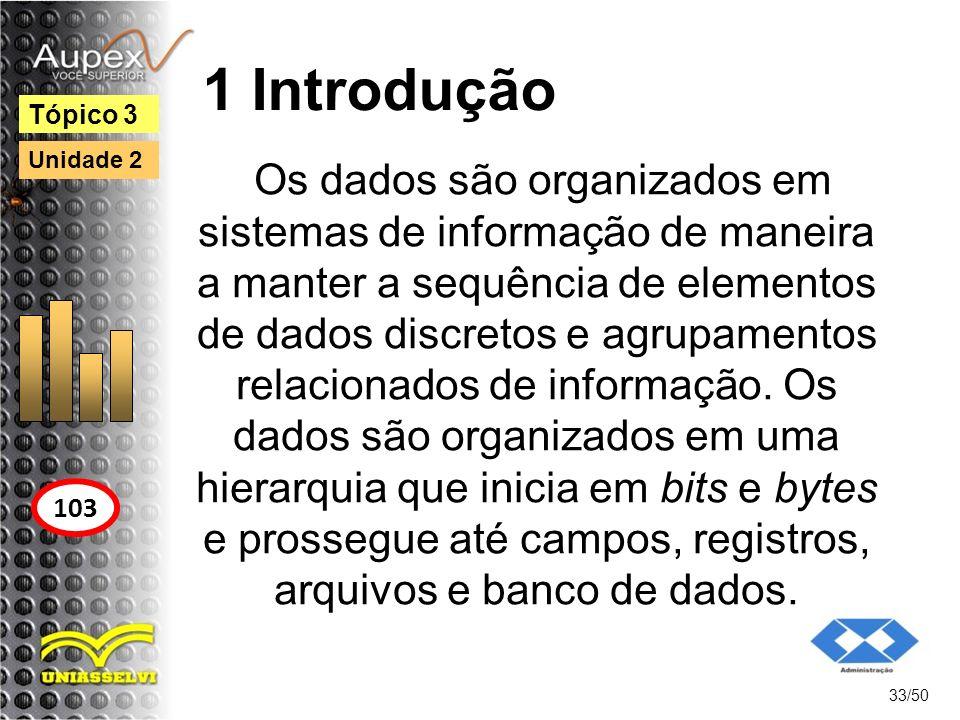 1 Introdução 33/50 Tópico 3 103 Unidade 2 Os dados são organizados em sistemas de informação de maneira a manter a sequência de elementos de dados dis
