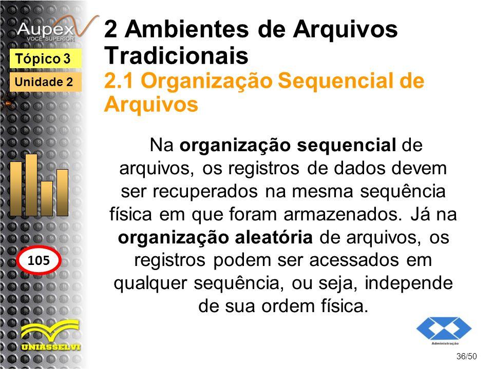 2 Ambientes de Arquivos Tradicionais 2.1 Organização Sequencial de Arquivos 36/50 Tópico 3 105 Unidade 2 Na organização sequencial de arquivos, os reg