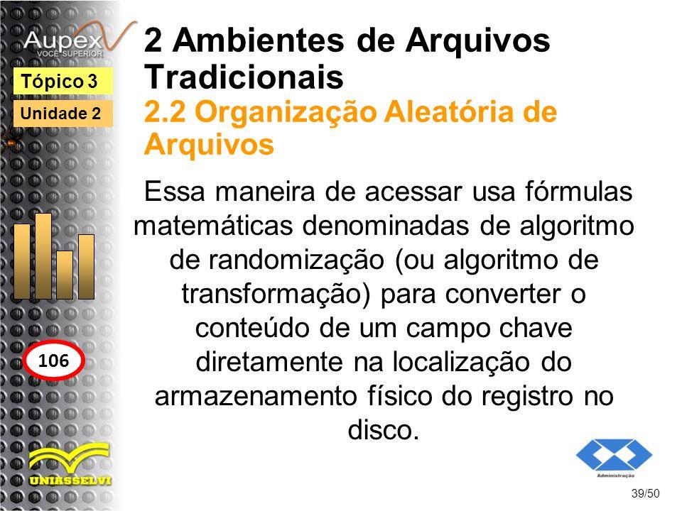 2 Ambientes de Arquivos Tradicionais 2.2 Organização Aleatória de Arquivos 39/50 Tópico 3 106 Unidade 2 Essa maneira de acessar usa fórmulas matemátic