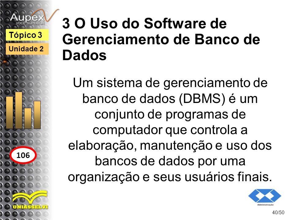 3 O Uso do Software de Gerenciamento de Banco de Dados 40/50 Tópico 3 106 Unidade 2 Um sistema de gerenciamento de banco de dados (DBMS) é um conjunto