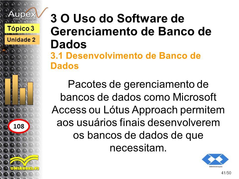 3 O Uso do Software de Gerenciamento de Banco de Dados 3.1 Desenvolvimento de Banco de Dados 41/50 Tópico 3 108 Unidade 2 Pacotes de gerenciamento de