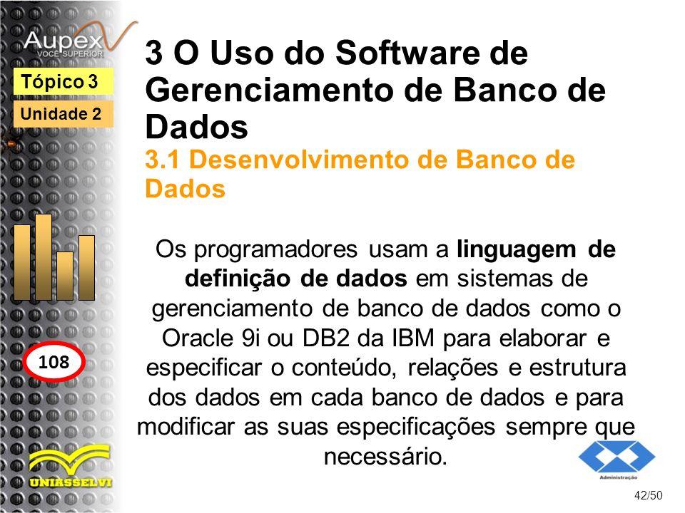 3 O Uso do Software de Gerenciamento de Banco de Dados 3.1 Desenvolvimento de Banco de Dados 42/50 Tópico 3 108 Unidade 2 Os programadores usam a ling