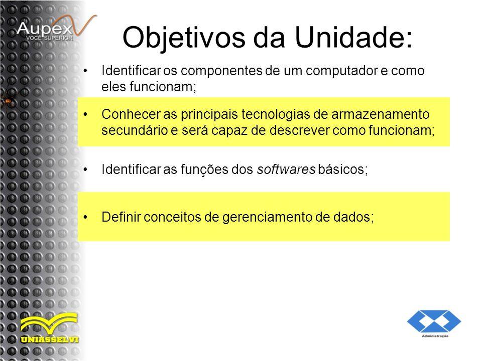 Objetivos da Unidade: Identificar os componentes de um computador e como eles funcionam; Conhecer as principais tecnologias de armazenamento secundári