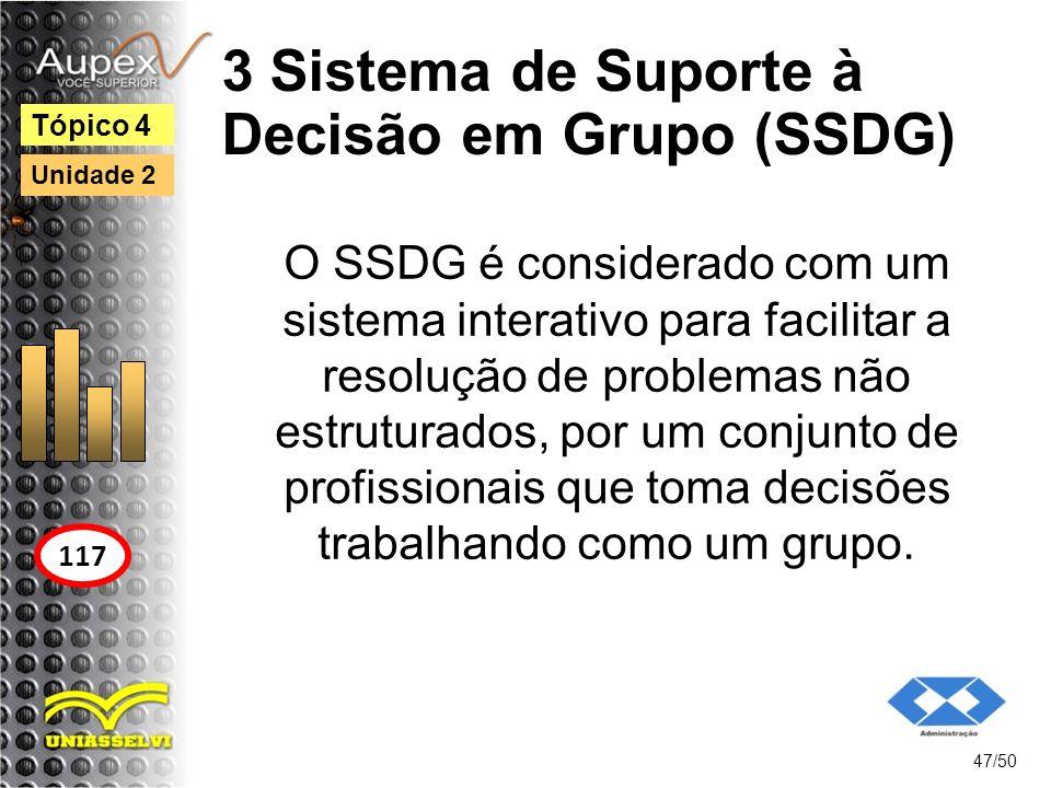 3 Sistema de Suporte à Decisão em Grupo (SSDG) 47/50 Tópico 4 117 Unidade 2 O SSDG é considerado com um sistema interativo para facilitar a resolução